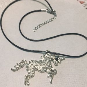 Dazzling Unicorn Necklace Rhinestones Silvertone